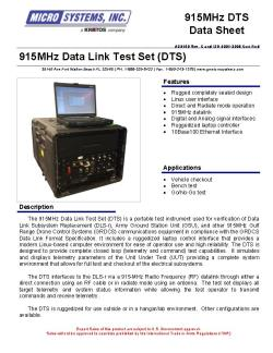 915Mhz Data Link Test Set (DTS)